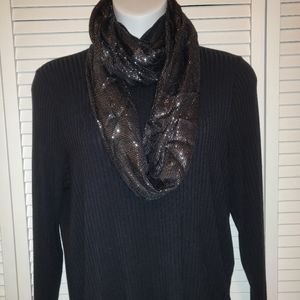 Maurice's shimmery black infinity scarf NWT